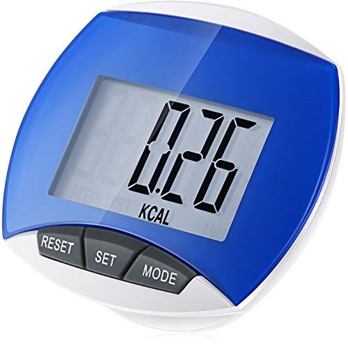 Podómetro Portátil Multifunción Podómetro de Caminar Simple Podómetro Deportivo con Clip para Hombres Mujeres Niños Contador de Calorías Distancia Pasos Medición Aptitud (Azul)