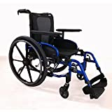 Invacare MyOn Ultra Lightweight Folding Transport Wheelchair, Swing-Away Footrests, Full Length Adjustable Height Armrests, 18' Seat Width and Depth, Electric Blue, 3340103-2