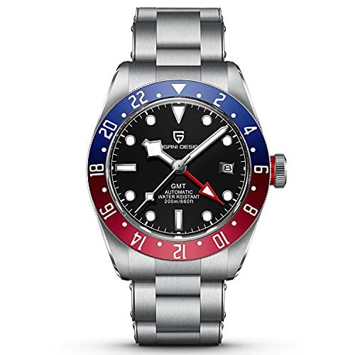 Pagani Design 1706 Herren GMT Automatikuhren Hommage Black Bay Mechanische Armbanduhren Multi-Zeitzonen-Funktion Wasserdicht 200M Herren Sportuhren