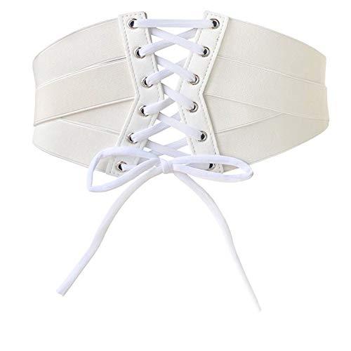 Aecibzo Women's Elastic Stretch Wide Band Waspie Corset Waist Belt (L/Fit Waist 35.5'-39.3', White)