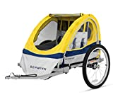 Schwinn Echo Kids/Child Double Tow Behind Bicycle Trailer, 20 inch wheel size, foldable, yellow