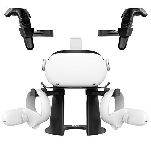 KIWI Design VR Headset Ständer, Headset Displayhalter und Controller Halter Montagestation für Oculus Quest/Oculus Quest 2/Rift/Rift S/GO/HTC Vive/Vive Pro/Valve Index VR-Headset und Touch-Controller