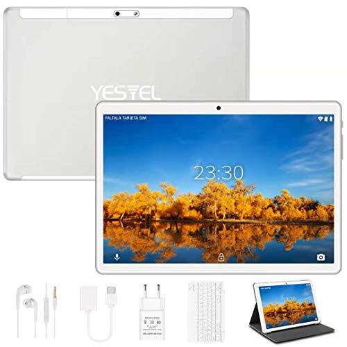 Tablet 10 Pollici 4GB RAM + 64GB ROM con Wi-Fi e Doppia SIM Lte, HD Android 10 Originale YESTEL Tablet con Tastiera, Espandibili Fino 128 GB, Fotocamera 5MP + 8MP/GPS/8000mAh/FM/Bluetooth-Argento