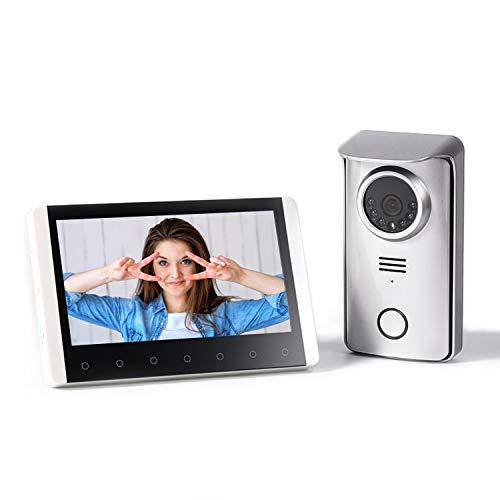 SIMBAILAI 7 Pouces Interphone vidéo sans Fil Interphone portier vidéo Couleur avec Image mémoire Station,300M,Affichage HD,la Fonction de Vision Nocturne,IP55