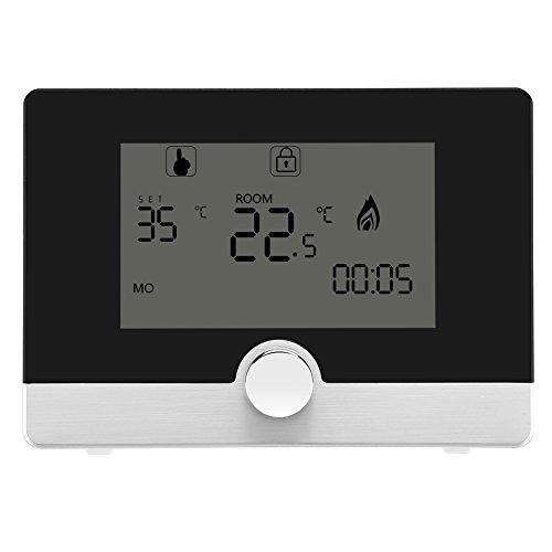 Fdit Contrôleur de Température Programmable Thermostat Numérique pour Le Système de Chauffage de Chaudière Mur-accroché(Noir)