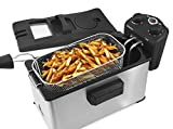 Maxi-Matic EDF-3500 Stainless-Steel Triple Basket Electric Deep Fryer with Timer and Temperature Knobs, 3.5 Quart, Stainless Steel