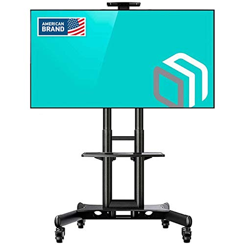 """ONKRON Mobile TV Stand with Mount Rolling TV Cart for 32"""" – 65"""" LCD LED Flat Screen TV with Wheels Shelves Height Adjustable TV  Trolley (TS15-51)"""