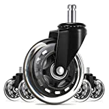 UVII Office Chair Caster Wheels(Set of 5),3' Heavy Duty Mute Replacement Rubber Chair Casters with...