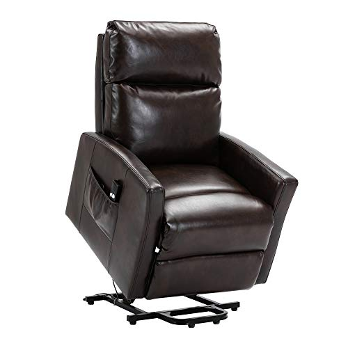 Dameng Lift Recliner Chair, Bonzy Home Overstuffed Lift Chairs for Elderly with Remote, 3 Position & Side Pocket, Power Reclining Chair for Living Room Home Theater Seating (Brown)