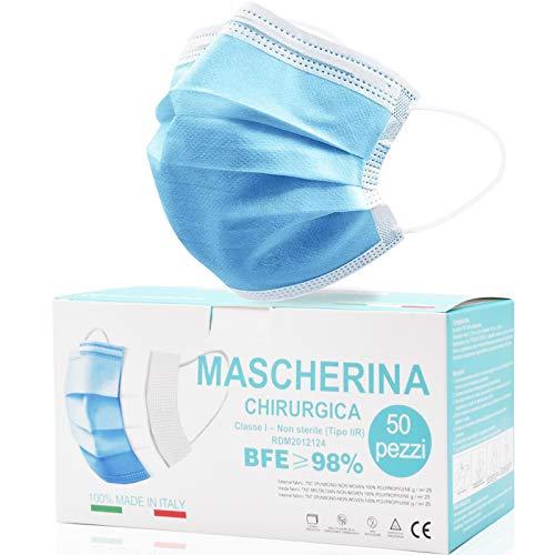 Rhino Valley Mascherine Chirurgiche, Mascherina chirurgica, MADE IN ITALY Monouso Certificate - Mascherina A 3 Strati...