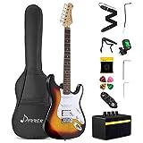Donner エレキギター フルサイズ 39インチ サンバースト ST型 初心者セット アンプ&ケース&カポ&ストラップ&チューナー&シールド&ピック付 DST-102S