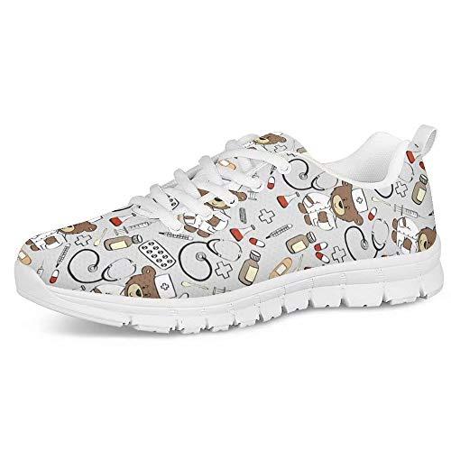 POLERO Zapatos Deportivos para Mujer, Zapatillas Planas con diseño de Osos, Zapatillas de Tenis con Cordones de Malla, Zapatos para Correr Ligeros y Casuales, EU 37,Gris Claro