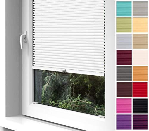 Home-Vision Premium Plissee zum Anschrauben in der Glasleiste Innenrahmen (Weiß, B55cm x H100cm) Blickdicht Plissee Jalousie mit Halterungen zum Bohren, Sonnenschutzrollo