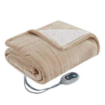 Beautyrest- Electric Heated Throw Blanket Ultra Soft Warm Plush Sherpa Blanket Wrap - 3 Fast Heat Setting with Auto Shut Off- Tan - 50x64 inches - 5 Yr Warranty