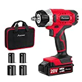 """20V MAX Cordless Impact Wrench with 1/2"""" Chuck, Max Torque 185 ft-lbs, 4Pcs Driver Impact Sockets, Tool Bag and 1.5A Li-ion Battery, Avid Power MCIW326"""