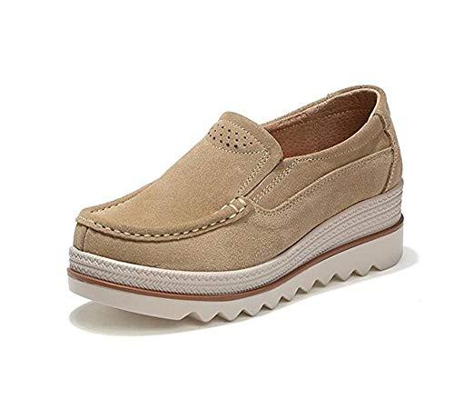 Mujer Mocasines Plataforma Casual Loafers Primavera Verano Zapatos de Cuña 5cm Negro Azul Caqui 35-42 Caqui 41