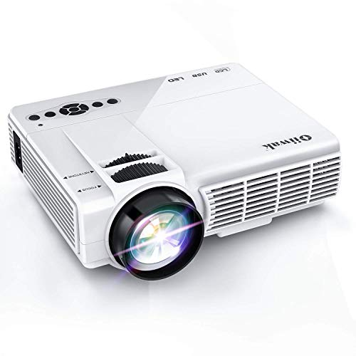 Oiiwak Mini Projector, 1080P & 170'' Display Portable Video Projector with 50,000 Hrs LED 2600 Lux Full HD Projecting Apparatus Compatible HDMI, VGA, Laptop, TV Stick, PS4, USB