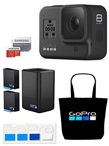 【GoPro公式限定】GoPro HERO8 Black + デュアルバッテリーチャージャー+バッテリー + 認定microSDカード32GB + 公式ストア限定非売品トートバッグ & ステッカー 【国内正規品】