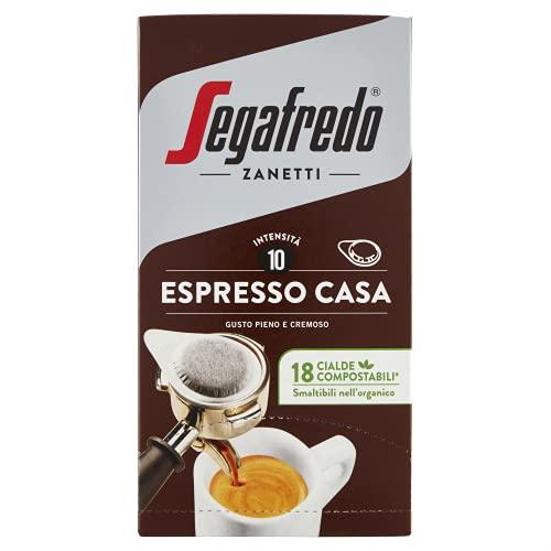 Segafredo - 18 Cialde Compostabili, Caffè Espresso Casa, Gusto Pieno e Cremoso - 1 Confezione da 18 Cialde