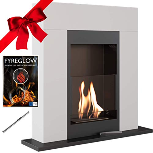 Whiskey 1 Bio Ethanol Fireplace, Freestanding, Indoor, White, TÜV Certified, Gift Pack with Fyreglow and Lighter