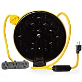 30Ft Retractable Extension Cord Reel with Breaker Switch & 3 Electrical Power Outlets - 16/3 SJTW Durable Yellow Cable - Perfect for Hanging from Your Garage Ceiling