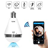 WiFi Security Light Bulb Camera, 360 Degree Panoramic 1080p IP Camera with IR Motion Detection, Night Vision, Two Way Audio for Pet Home Surveillance