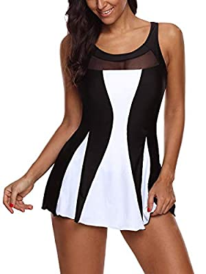 DESIGN: One piece tummy control swimdress, sexy mesh swimsuit or floral printed bathing suit, unadjustable strap dress swimsuits, just for you choose MATERIAL & SIZE: This bathing suit dress made of high quality Polyester and Elastane, soft, comforta...
