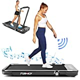 Treadmill,Under Desk Folding Treadmills for Home,2-in-1 Running, Walking&Jogging Portable Running Machine with Bluetooth Speaker & Remote Control,5 Modes & 12 Programs,No Assembly Required (Black)