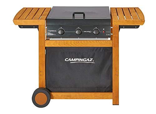 Campingaz Barbecue Gas Adelaide 3 Woody Dual Gas, Grill Barbecue a Gas a 3 Bruciatore, Potenza di 14 kW, Griglie in Acciaio, 2 Tavoli a Lato
