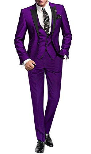GEORGE BRIDE 002 - Traje de 5 Piezas para Hombre, Chaqueta de Traje, Chaleco, pantalón de Traje, Corbata, con Bolsillos, V, S