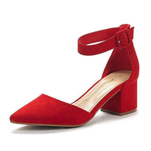 Dream Pairs Annee Zapatos de Tacón Bajo Ante para Mujer Rojo 37.5 EU/7 US
