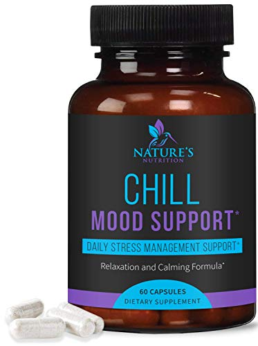 Stress Support Supplement 1000mg, Natural Herbal Formula for Calm, Positive Mood, Relaxation - Made in USA - with Ashwagandha, Niacin, L-Theanine, Rhodiola Rosea, 5-Htp - 60 Capsules