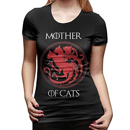 Camiseta Juego de Tronos Mother of Cats Manga Corta Mujer (XXL, Negro)
