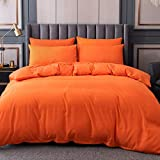 Orange Duvet Cover Set Queen Size, 3 Pieces 100% Microfiber Solid Color Comforter Cover Sets, Bedding Duvet Cover Soft and Breathable with Zipper Closure & Corner Ties, 90x90 inches