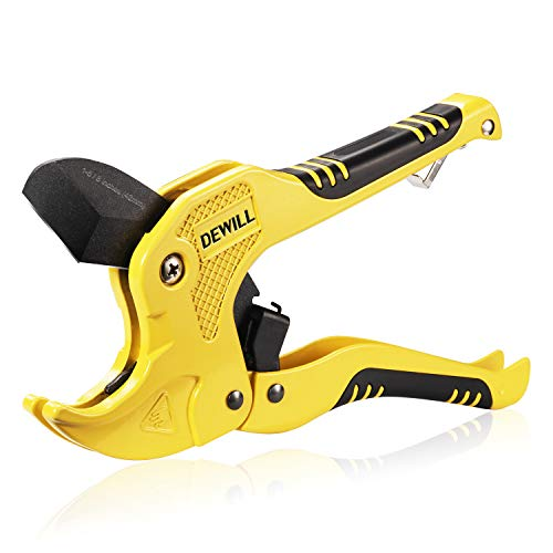 DEWILL Ratchet-type Pipe and PVC Cutter, One-hand Fast Pipe Cutting...