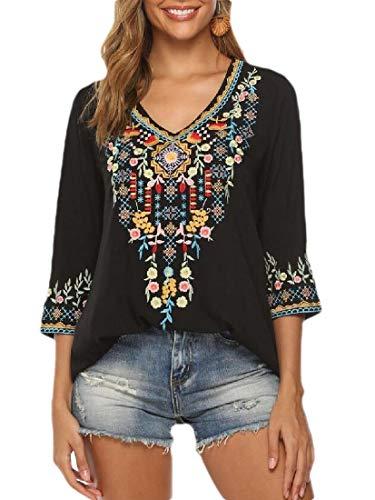 H&E blusa de mujer con bordado mexicano bohemio Negro Ne