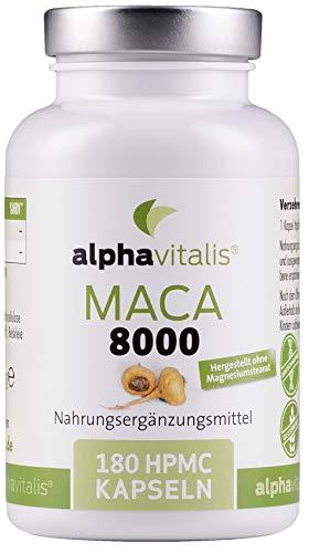 Maca Gold 8000 – 180 Maca Kapseln 20:1 Extrakt - laborgeprüft - vegan - ohne Magnesiumstearat - hochdosiert und in Premiumqualität