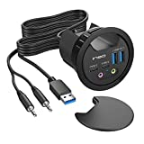 In Desk USB 3.0 Hub with Audio Jack – THC06-VI (2x USB Type A, 2x USB C) USB Power Port Charger Extension Outlet for 60mm and 80mm Grommet Hole, Desktop Cable Organizer, Headsets Mic Charging Adapter