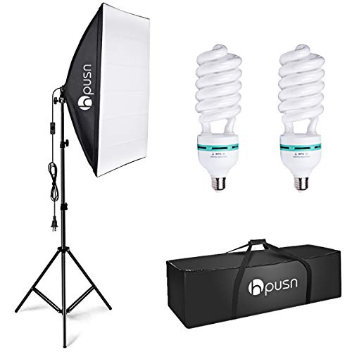 HPUSN Softbox Lighting Kit Photography Studio Light with 20-inch X 28-inch Reflector and...