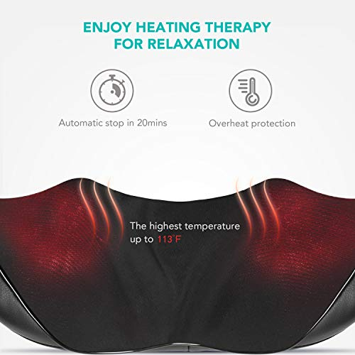 Naipo Shiatsu Back and Neck Massager with Heat Deep Kneading Massage for Neck, Back, Shoulder, Foot and Legs, Use at Home, Car, Office 3
