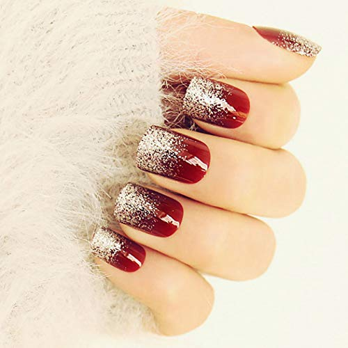 Drecode 24Pcs False Nails Red Sequins Full Cover Fake Nails Fashion Party Christmas Press on Nails for Women and Girls (Red)