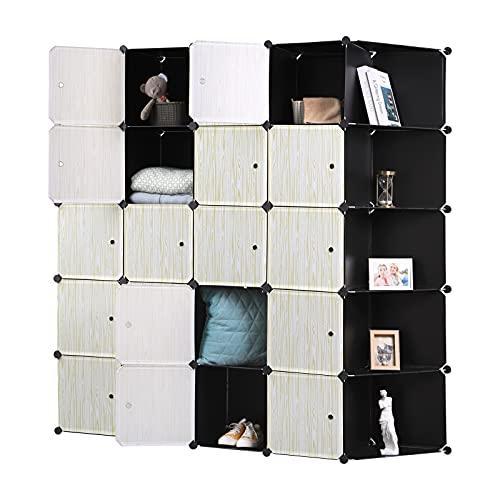 WOLTU Guardaroba Grande DIY Armadio a Cubo, Pieghevoli Stanzino Combinato Ripostiglio Modulare Scarpiera Nero+Bianco SR0102she