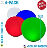 4-PK Floating Pool Lights, 12' Globes, 4 Color Settings, Solar LED Balls, Inflatable, Waterproof, Floatable, Hangable, Night Mood Lights-Sphere Decorations-Pools-Backyard-Lawn-Pathways-Parties-Events