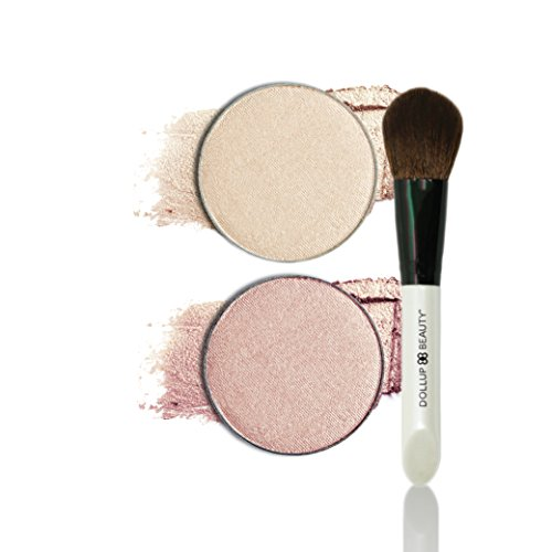 Dollup Beauty Highlighter Lavish Rose Gold and Brush
