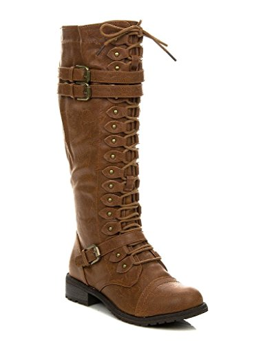 Wild Diva Womens Knee High Boots Lace Up Riding Boots