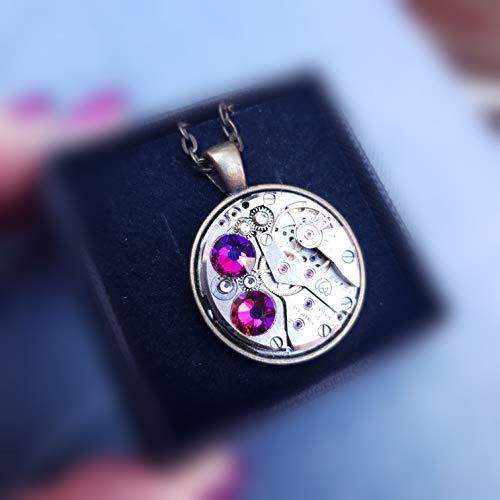 Violet Crystal Heart steampunk industrial necklace silver bronze watch mechanism