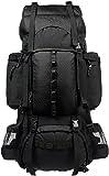 AmazonBasics Sac à dos de randonnée à armature intérieure avec housse de pluie, 75 L, Noir