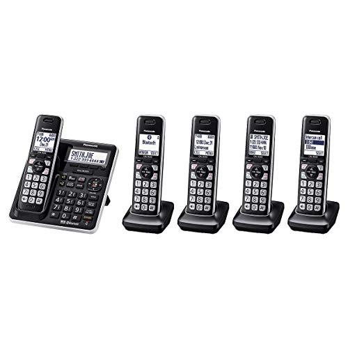 Panasonic DECT 6.0 Bluetooth Smartphone Link 5-Handset Cordless Phone Bundle Advanced Home System (KX-TG985)