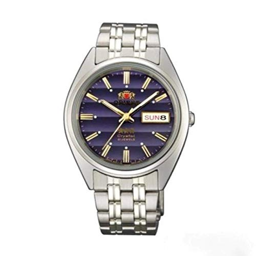 Orient FAB0000DD Men's 3 Star Stainless Steel Navy Blue Dial Day Date Automatic Watch