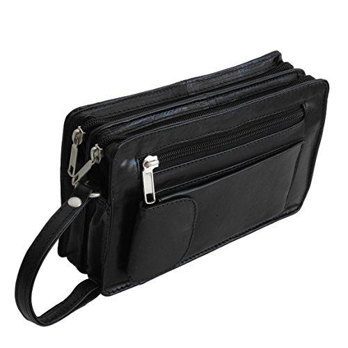 Bag Street Leder - Exquisite Leder HerrenHandgelenktasche, Herrentasche,Handtasche, Handgepäck-Tasche (Schwarz - Doppelkammer) - präsentiert von ZMOKA®